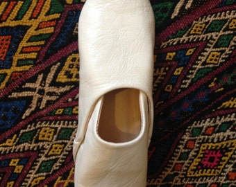Women's Moroccan White Leather Babouche/Slippers
