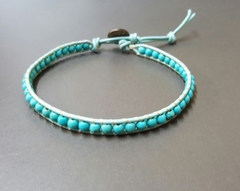 Turquoise Blue  Leather Anklet