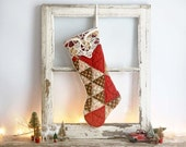 Quilted Christmas Stocking Made from Vintage Quilt, Cottage Christmas Stocking, Vintage Style Christmas Stocking, Farmhouse Stocking, Red