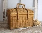 Vintage Wicker Basket, Wicker Picnic Basket, Wicker Basket with Lid, Large Basket, Basket with Handles, Fixer Upper Decor