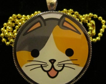 Calico Cat Necklace-Kitten Kitty Jewelry-Handmade Resin Pendant Jewelry