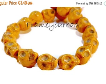 ON SALE Camel Howlite Skull Beads 12mm (1.5 mm hole) 20 items