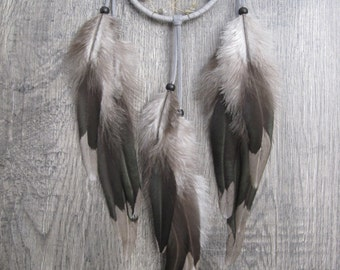 Dream Catcher Grey Deerskin Leather with Rooster Saddle Feathers ~ OOAK