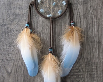 Dream Catcher Chocolate Brown Suede with Goose Feathers