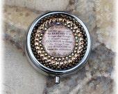 Silver Metal Swarovski Preciosa Rhinestone Serenity Prayer Brown Pill Medication Box Case Holder Gift