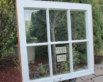 24 x 23 Vintage Window sash  6 pane  from 1955