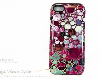 Burgundy Abstract iPhone 5c Tough Case - Berry Bubbles - Artistic iPhone 5c Case - Burgundy, White and Green 5c Case