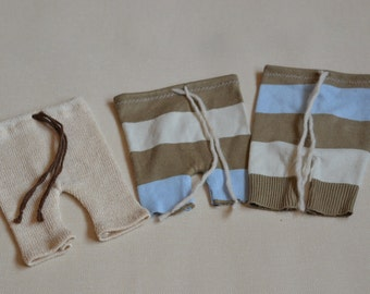 Ready to ship Newborn pants shorts OOAK stripes or plain beige NB photo prop SALE