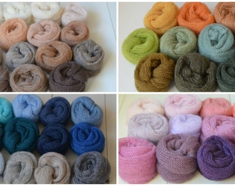 Knit Mohair wrap Newborn Photography prop - layer, blanket, swaddle, wrap, knot or just add color - choose from 49 colors
