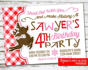 Reindeer Birthday Invite, Rudolph Invite, Christmas Birthday Invitation, Rudolph the red nosed reindeer, Reindeer invitation