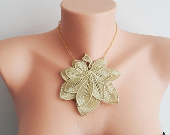 Gold Lace  Necklace/ Lace Necklace/  Gold Necklace/ Arc Necklace/ Flower Necklace/ Wedding Necklace/ Gift For Her