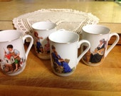 Norman Rockwell Certified Authentic Mugs Set Of Four