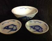 Very Nice Set Rice Bowl & Two Sauce Dishes Blue Fish Design