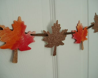 Fall Banner, Painted Wooden and Glitter Cardstock Leaves Banner, Thanksgiving Decoration, Fall, Autumn Garland, Brown, Orange