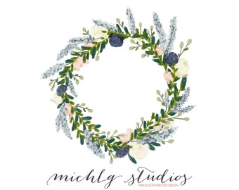 18 Digital clip art floral wreaths & flowers, PNG, clipart watercolor, hand drawn, florals, logo, diy wedding, wedding laurel, leaf, 0002