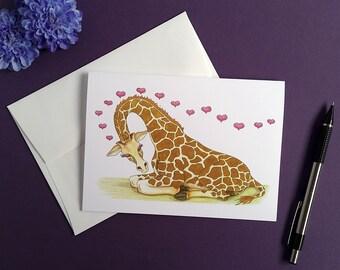Giraffe Card, Blank Greeting Anniversary Card, Congratulations New Baby, Wedding Card, Gift for Her, Giraffe Gift, Baby Shower Card