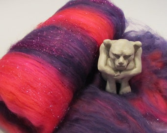 JEZEBEL 4.0 oz, spinning fiber, bling batt, Angelina sparkle, felting fiber, art yarn fiber, roving, batt