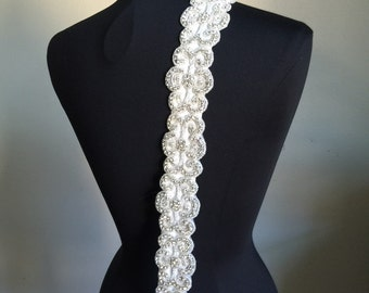 Crystal bridal sash on ivory satin sash