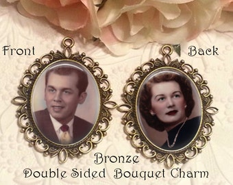 Double-Sided Memorial Bouquet Charm - Personalized with Photo - Antique Bronze