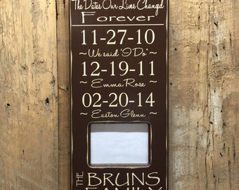 Important Dates Wood Frame - Anniversary Gift - Family Date Sign - Important Date Frame - The dates our lives were changed forever - Papyrus