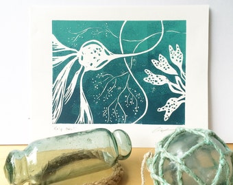 Kelp twirl, westcoast seaweed botanical art, handprinted linocut print perfect for your beach house