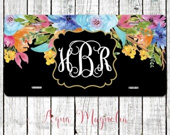 Watercolor Flowers - Personalized - License Plate - Monogrammed