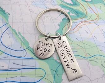 Domincal, Costa Rica Latitude Longitude Hand Stamped Keychain with Pura Vida Charm with Ocean Wave