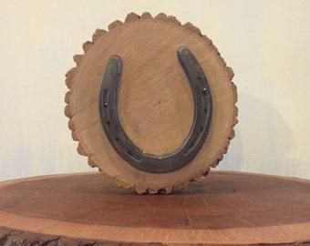 Horseshoe Mounted to Red Oak Log Slice