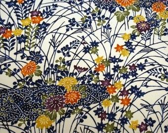 Floral Garden Vintage Japanese Tango chirimen silk kimono fabric