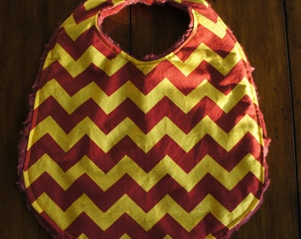 Minky and Cotton Bib and Burp Cloth - Red and Gold Chevron