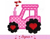 Instant Download Valentine's day Tractor Applique Machine Embroidery Design NO:1906