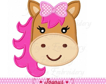 Instant Download Girl Horse Face Applique Machine Embroidery Design NO:2196