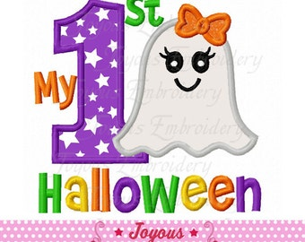 Instant Download My 1st Halloween For Girls Applique Machine Embroidery Design NO:2216