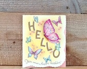 Die Cut Birthday Card Unused Greeting Card  Yellow Glitter With Pink and Purple Flying Butterflies 1940