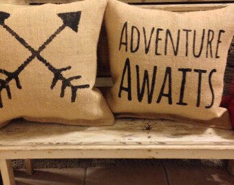 adventure awaits pillow set, travel decor, nusery pillow, adventure awaits nursery, mountain pillow