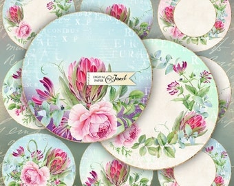 Sweet Tags - 2.5 inch circles - set of 12 - digital collage sheet - pocket mirrors, tags, scrapbooking, cupcake toppers