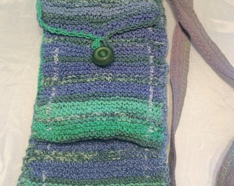 Blue and Green knitted pouch