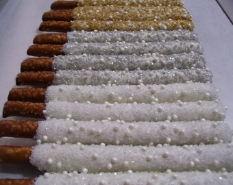 Pretzel Rods Gold White Silver Chocolate Covered Pretzel Rods White Gold Silver Crystals and Pearls and Crystals 1 dozen
