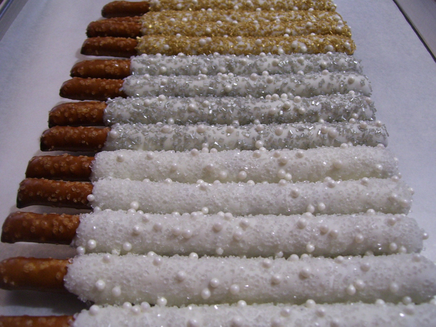 Pretzel Rods Gold White Silver Chocolate Covered Pretzel Rods
