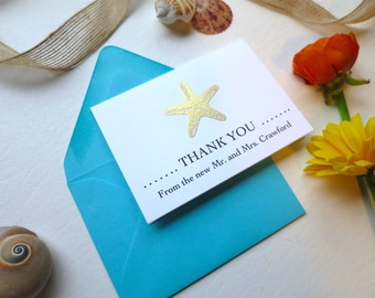 Starfish Wedding Thank You Cards, Metallic Gold and Turquoise - Style 130