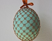 Handmade Copper Wire Wrapped Easter Eggs - Pysanky - Mint