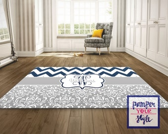 Monogrammed Rug, Monogrammed Livingroom, Personalized Rug, Navy and Gray Area Rug - Chevron and Damask Rug - Bedroom Rug - Matching Rug