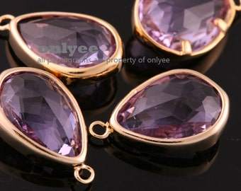 2pcs-17mmX10.5mBright Gold Faceted NEW Style Tear Drop With Glass pendants-Lavenda(M395G-D)