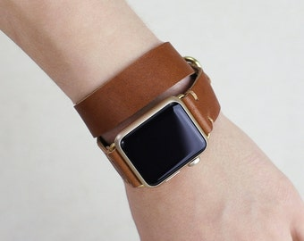 Double Wrap Horween Leather Apple Watch Band: English Tan Leather Strap, Apple Watch Strap Adapters, Metal Loops