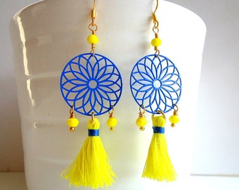 Blue earrings, Yellow earrings, Tassel earrings, Dream catcher earrings, boho earrings, summer trend 2018, lime yellow earrings