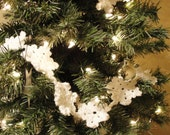 Snowflake Christmas Tree Garland, Handmade multiple 5 foot sections, or linked to custom lengths.  Custom options available.