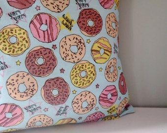 Kawaii Donut Sprinkles 50s Upcycled Teatowel Cushion / Pillow cover