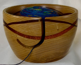 921 Yarn bowl, made from Silver Maple with a double wave of Bloodwood