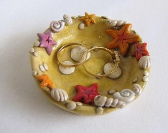 Sea Shell Ring Dish, Beach Theme Trinket Dish, Starfish Ring Dish