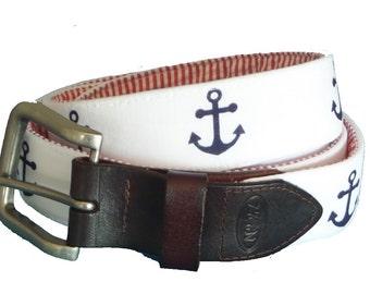 Navy Anchor Nautical Belt / Leather Belt / Canvas Belt / Preppy Webbing Belt for Men, Women and Children/Navy Anchor with Red Seersucker